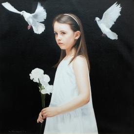 White Carnations 60cm x 60cm