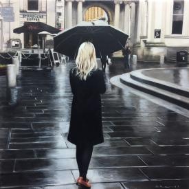 Black Coat in the City 50 x 50cm - £2500 (0167)