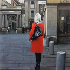 Red Coat in the Square 50 x 50cm - £2500 (0159)