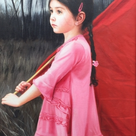 Girl with a Red Flag 60 x 40cm - £2500 (0173)
