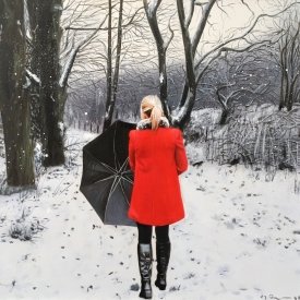 Red Coat in the Snow 40 x 40cm £1,450 (0207)