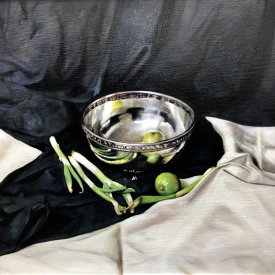 Still Life with Silver Bowl and Limes 50 x 50cm £2500 (0262)