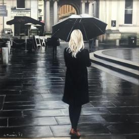 Rain on Royal Exchange Square 50 x 50cm - £2500 (0191)