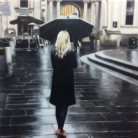Black Coat in the City 50 x 50cm - £2500 (0167)