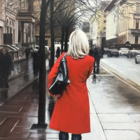 Red Coat on St Vincent Crescent - 60 x 40cm £2500 (0189)