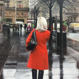 Red Coat in the City - 60 x 40cm £2500 (0188)