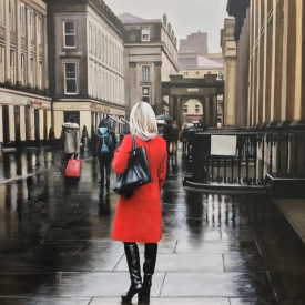 Red Coat in the Square - 100 x 100cm £10250 (0199)