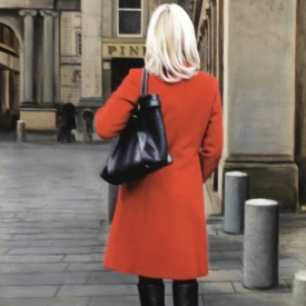 Red coat in the city - 60 x 40cm £2,500 (0022)