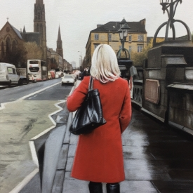 Red coat on kelvin bridge - 60 x 40cm £2,500 (0095)