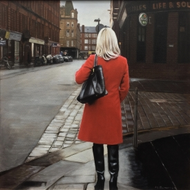Red coat in merchant square - 50 x 50cm £2,500 (0094)
