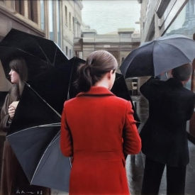 Umbrellas in the city - 50 x 50cm £2,500 (0117)