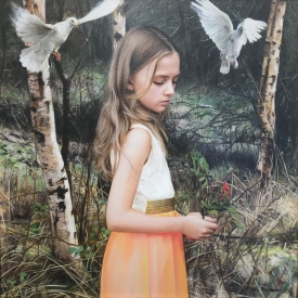 Girl with Doves no1 55 x 55cm £2750 (0340)