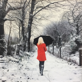 Red Coat in Winter - 70 x 70cm £5200 (0190)