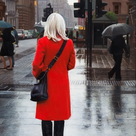Red Coat in the City 60cm x 40cm