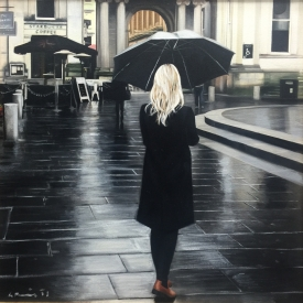 Black coat in the rain 50cm x 50cm