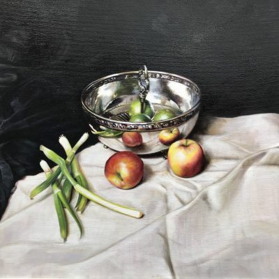 Still Life with Silver Bowl & Two Apples