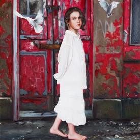 Angel (red door) 1m x 1m