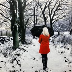 Red Coat in Winter 50 x 70cm £3500 (0242)