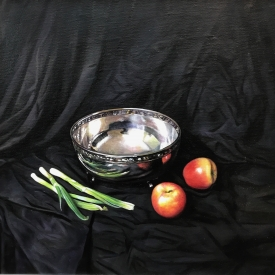 SOLD - Still Life with Silver Bowl 50 x 50cm £2500 (0246)