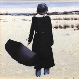 Black Coat on the Beach 40 x 40cm £1450 (0033)