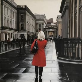 Red Coat in the City 60 x 60cm £3,500 (0200)