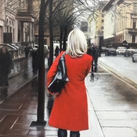 Red Coat on St Vincent Crescent - 60 x 40cm £2500 (0189)