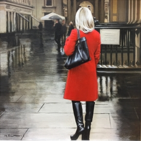 Royal exchange square in the rain - 40 x 40cm £1,500 (0108)