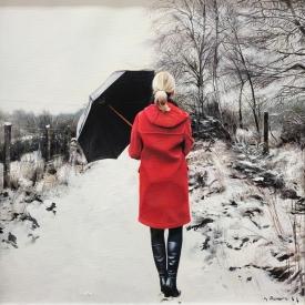 Winter Coat in Red 50 x 50cm £2500 (0244)