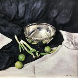 Still life with three limes 50 x 50cm £2500 (0350)