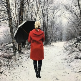 red coat on a winter path 60 x 80cm £4500 (0352)