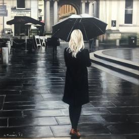 Black coat in the rain 50cm x 50cm